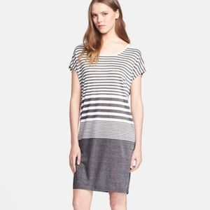 Vince Variegated Gray Stripe T-Shirt Dress XS NWT